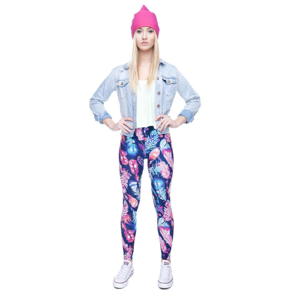 High Quality Leggings Feathers Color Printing Fitness Legging Elasticity High Waist Slim Sexy Leggins Trouser Pants