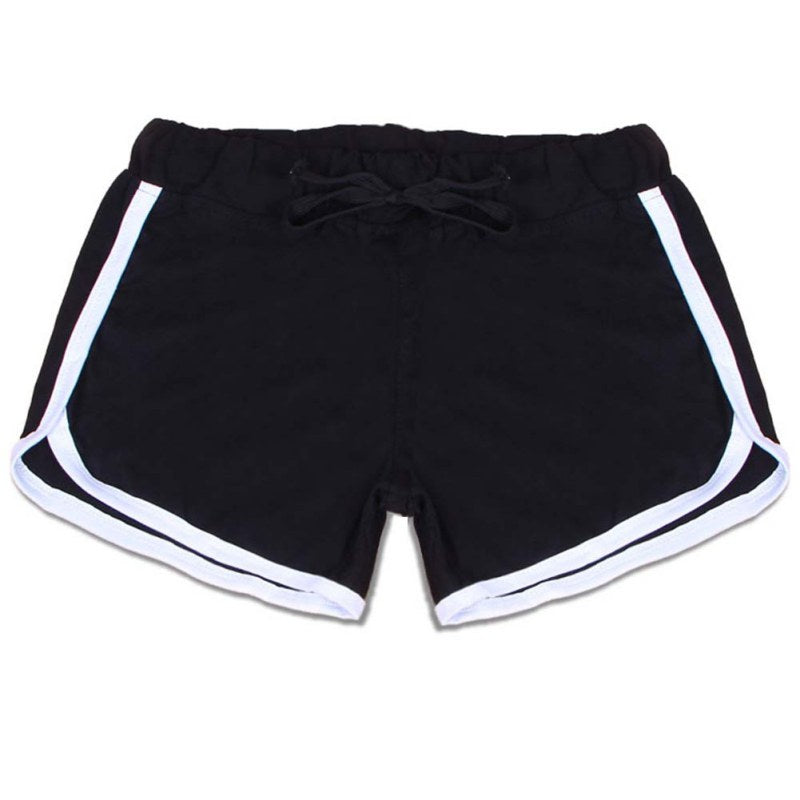Yo-Ga  Drawstring Shorts Women Casual Loose Cotton Contrast Binding Side Split Elastic Waist Short