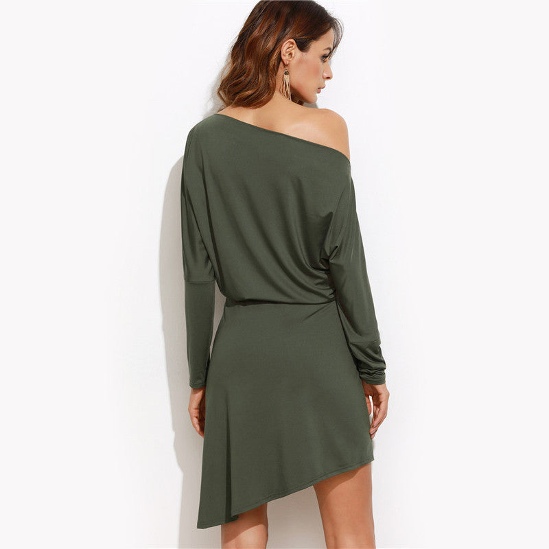 Army Green Women Autumn Dresses Long Sleeves Off Shoulder Asymmetric Overlap Dress - Style Lavish