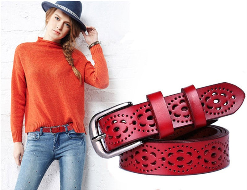 Women Fashion Wide Genuine Leather Belt Woman Without Drilling Luxury Jeans Belts
