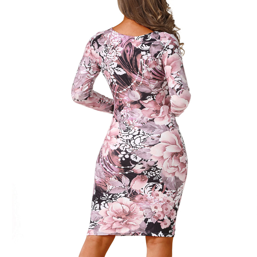 Autumn Dress Pencil sheath Bodycon Dresses Fashion Women's Sexy Round Neck Vintage Dress - Style Lavish