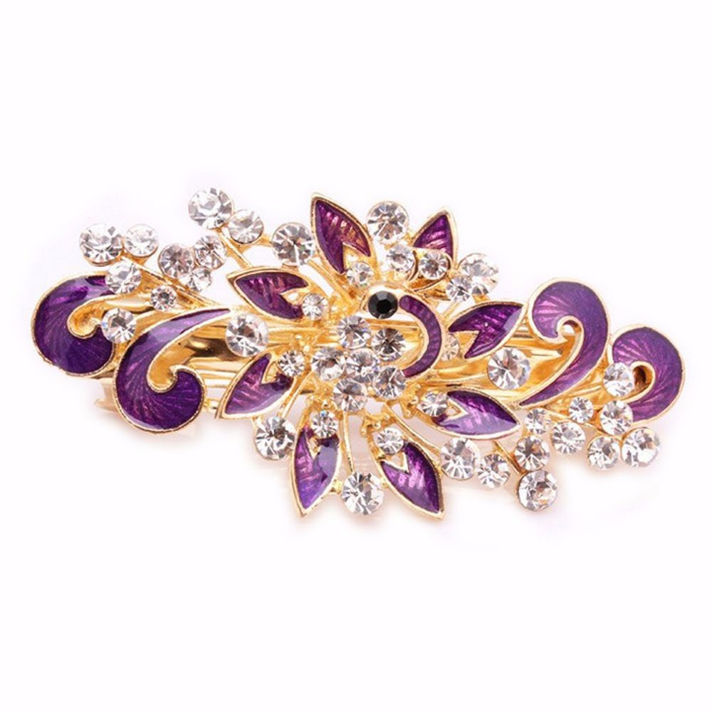 Fashion Women Hairpins Colorful Shinning Rhinestones Flower Hairpin Hair Clip Jewelry hair accessories - Style Lavish