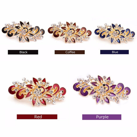Fashion Women Hairpins Colorful Shinning Rhinestones Flower Hairpin Hair Clip Jewelry hair accessories
