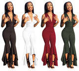 Women Wide Leg Bodycon Jumpsuit Deep-V Summer Full Bodysuit Bodies Woman Sexy Black White Rompers