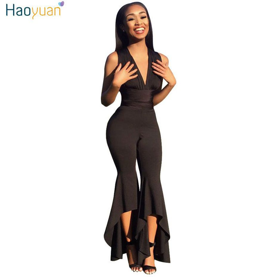 5bbd5e921ffb1 Women Wide Leg Bodycon Jumpsuit Deep-V Summer Full Bodysuit Bodies Woman  Rompers Jumpsuit