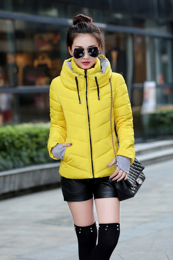Winter Jacket Women Parkas Thicken Outerwear Solid Hooded Coats Short Slim Cotton padded Basic Tops