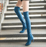 Summer Women High Heel Shoes Tassel Stiletto Pen Toe Denim Boots Over The Knee Thigh High Shoes