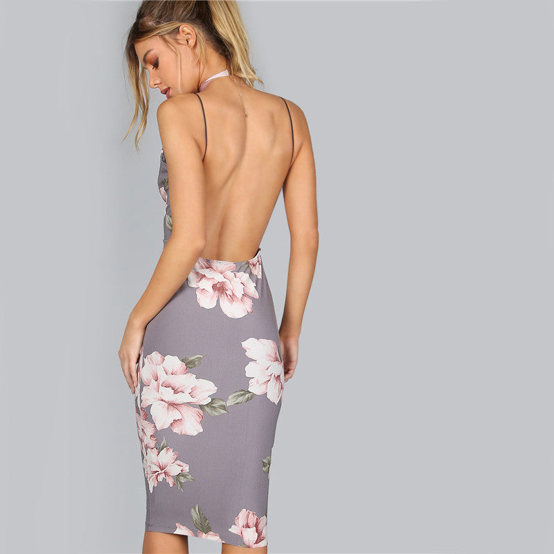 Bodycon Women Grey Floral Sexy Backless Slip Dresses Plunge Neck Elegant Midi Dress - Style Lavish