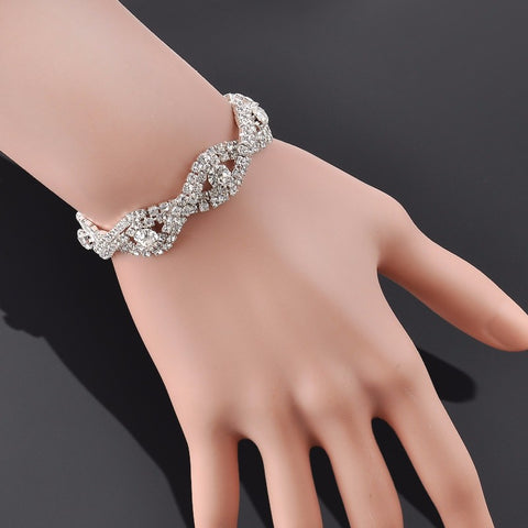 Elegant Deluxe Silver Rhinestone Crystal Bracelet Bangle Jewelry For Women Girl Gift - Style Lavish