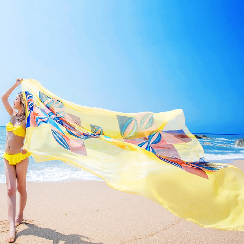 cf0d99a686e48 ... 140x190cm Scarf Women Summer Beach Sarongs Chiffon Scarves Geometrical  Swimsuit Cover Up Dress Wraps - Style ...