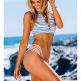 High Neck Bikini Women Swimwear Bandage Cut Out Brazilian Bikini Set Print Summer Swimsuit Beach Bathing Suit