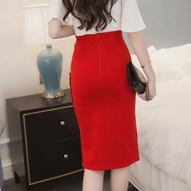 High Waist Pencil Skirt Tight Bodycon Fashion Women Midi Sexy Open Slit Button Slim Pencil Skirt