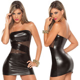Women Sleeveless  Patent Leather Bodycon Strapless Lure Mini Dress