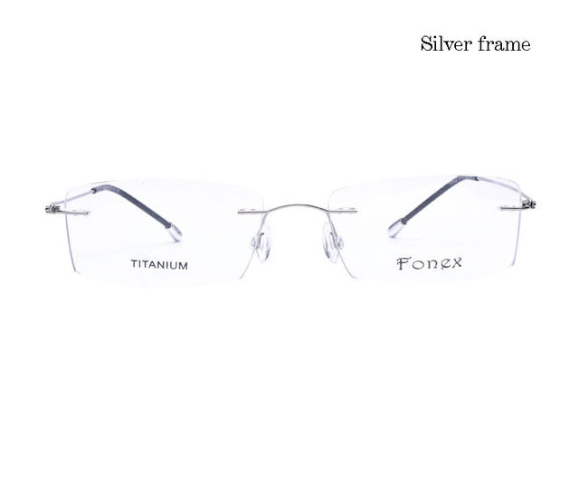 Titanium Myopia Rimless Glasses Memory Square Eyeglasses Optical Spectacle Frame Eyewear Men Women Brand Designer