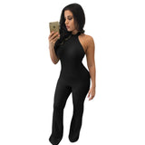 Rompers Women Jumpsuit Fashion Solid Color Sleeveless Sexy Backless Loose Full Length Knitted Bodycon Jumpsuits gray