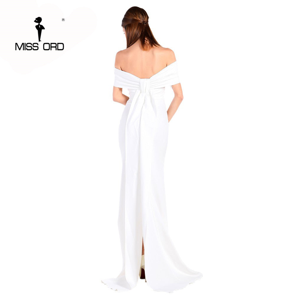 Women Floor-Lenght Bow backless elegant party dress strapless bodycon