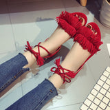 Woman Fashion Tassel Straps Flat Sandals Flip-flops Summer Beach Shoes