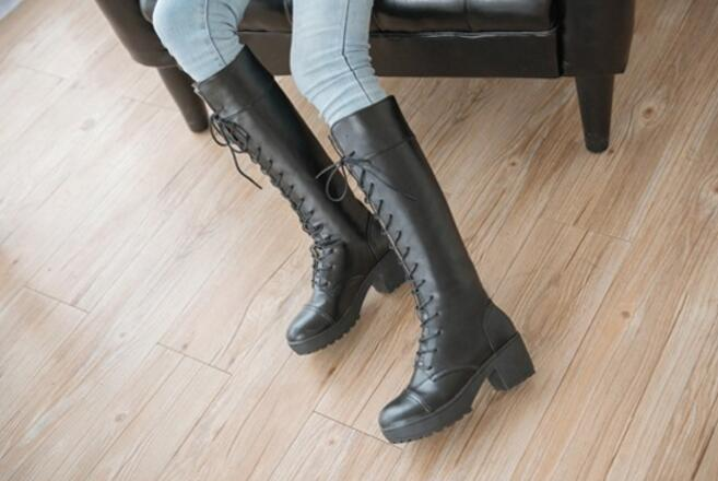 Women Fashion Knee High Boots Autumn Winter Thick Heel Martin Knight Riding Boots Lace Up Platform Women Shoes