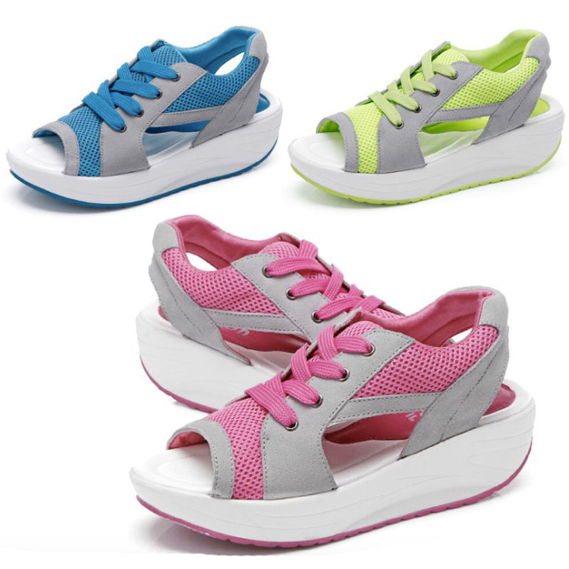 Women Sandals Fashion Summer Casual Sport Mesh Breathable Shoes Wedges Sandals Lace Platform