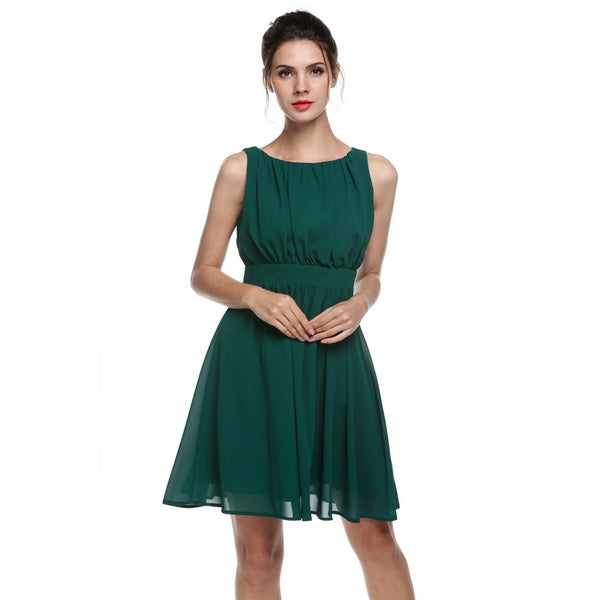 Summer Elegant Dress Chiffon Sleeveless Draped Flare Fit  Fashion Casual Dress