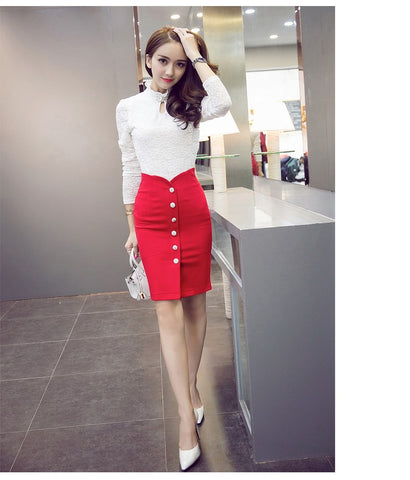 Fashion High Waist Open Fork Button Skirt Elegant Women Irregular Bodycon Pencil Skirt