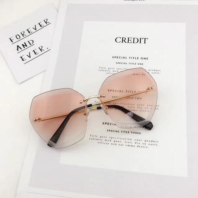 Women Rimless Square Sunglasses Brand Designer Thick  Gradient Cutting Lens Glasses - Style Lavish