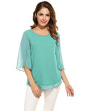 Women's Blouse Summer Autumn Casual Flare Sleeve O Neck Solid Loose Pullover Chiffon Blouse Shirt Tops