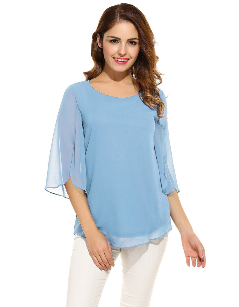Women  Blouse Summer Autumn Casual Flare Sleeve O Neck Solid Loose Pullover Chiffon Blouse Shirt Tops