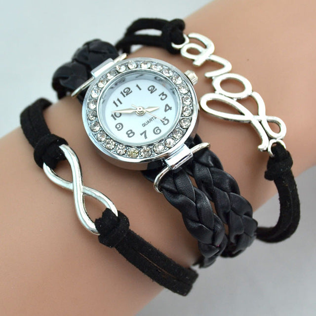 Women  Fashion Bracelet Watch Love Women Wristwatch infinity love Brand Quartz Watch