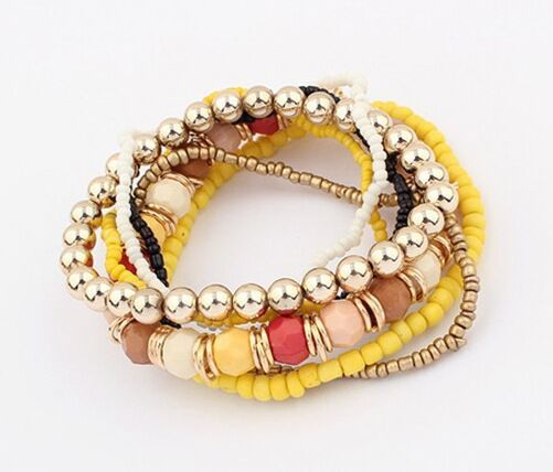 Fashion Multilayer Bracelet Beads Mixed Elastic Bracelets Charming Jewelry For Women - Style Lavish