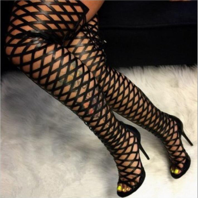 Women Summer Long Boots Over The Knee Gladiator Sandal Thigh High Boots High Heel shoes Sexy Pumps