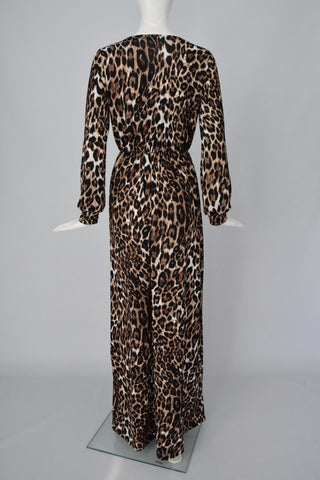 Womens Deep V Neck Low Cut Slit Leopard Print Casual Long Dress Long Sleeve Elegant Evening Maxi Dress