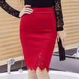 Fashion Spring Skirts Slim High Waist Sexy Lace Embroidery Skirt Open Slit Elegant OL skirt - Style Lavish