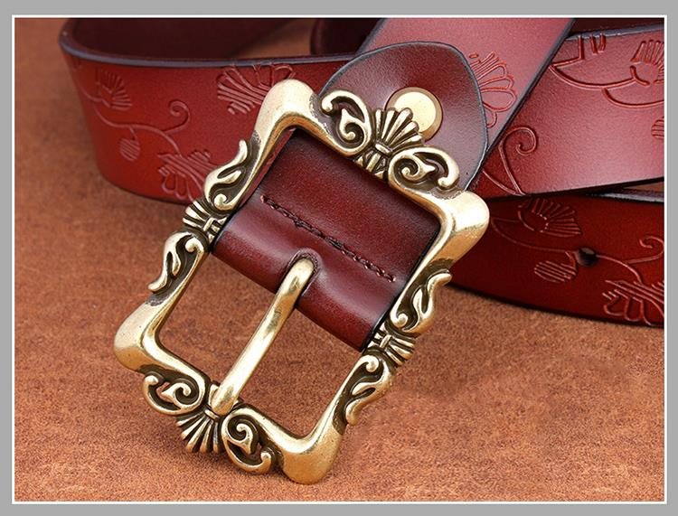Genuine Leather woman Fashion Wide Belts  Floral Buckle Strap Jeans Girdle