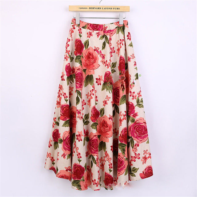 374ac94768cd Fashion Printed Midi Skirt Women Big Swing Long Skirt Ethnic Folk Custom  Linen Long Skirts Ankle ...
