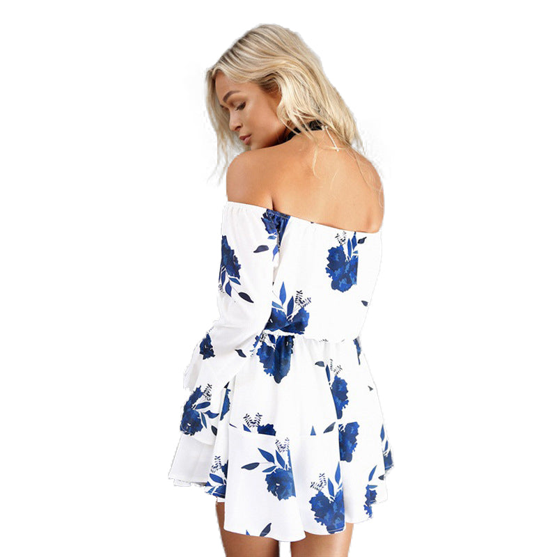 Women Backless Floral Print Summer Dress Sundress White Chiffon Bandage Women Dresses