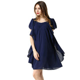Black Navy Color Chiffon Dress  Summer O Neck butterfly sleeve loose Dresses Women clothing - Style Lavish