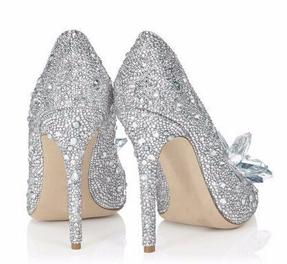 New Rhinestone High Heels Cinderella Shoes Women Pumps Pointed toe Crystal Wedding Shoes