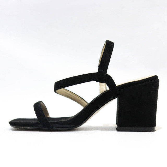 Women Sandals Summer Narrow Band Sexy Pumps Flock Chunky Mid Heel - Style Lavish