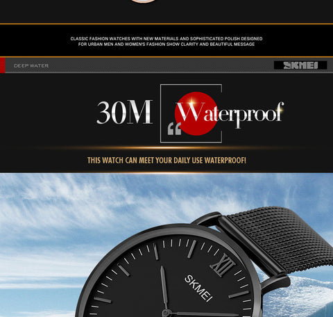 Men Women Fashion Casual Watch 30M Waterproof Simple Ultra-thin Design Wristwatches