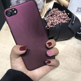 Luxury Wine Red Case For iphone 7 Case For iphone 6 6S 7 7 Plus 5 5S SE Phone Cases Fashion Hard PC Frosted Cover Capa Fundas