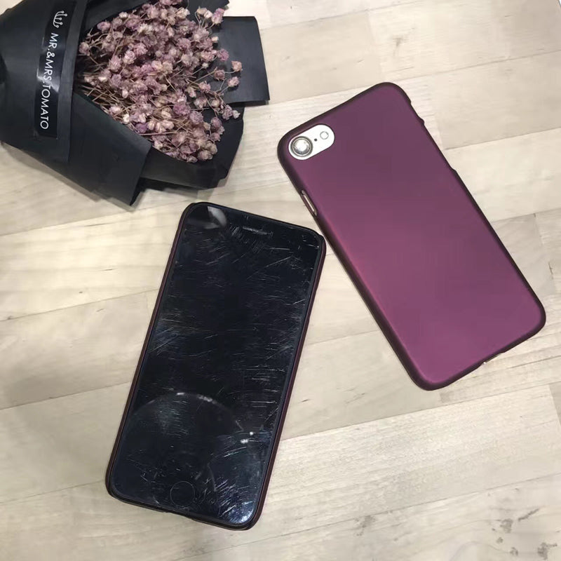 Wine Red Case For iphone 7 Case For iphone 6 6S 7 7 Plus 5 5S SE Phone Cases Fashion Hard PC Frosted Cover