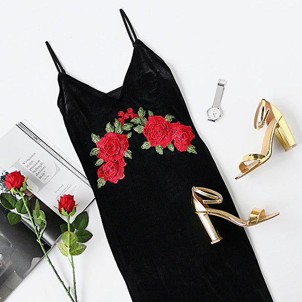 Velvet Floral Bodycon Dress Deep V Neck Black Embroidered Rose Backless Spaghetti Stripe Cami Dress