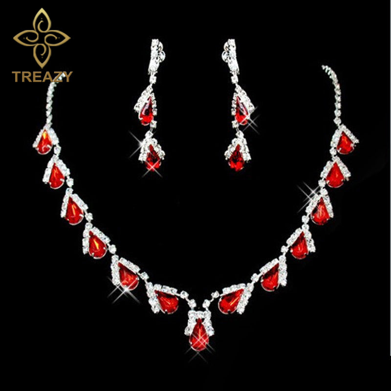 Women Fashion Red Crystal Teardrops Bridal Jewelry Set Necklace Earrin