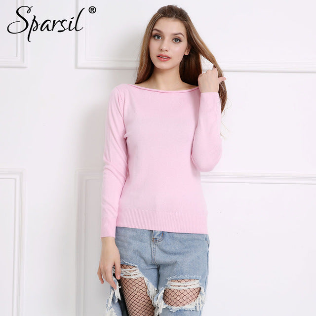 Women Winter Cashmere Blend Knitted Sweaters Long Sleeve Pullovers Slash Neck Sweater