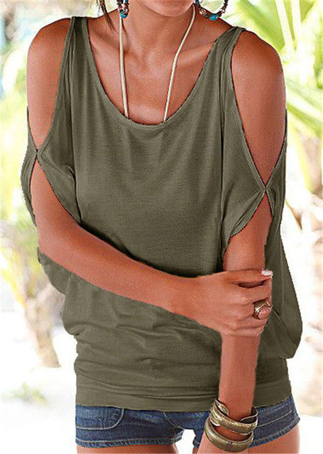 Women Blouses Summer Casual Batwing Short Sleeve Blouse Shirt Sexy Off Shoulder Tops Loose O-neck Solid - Style Lavish