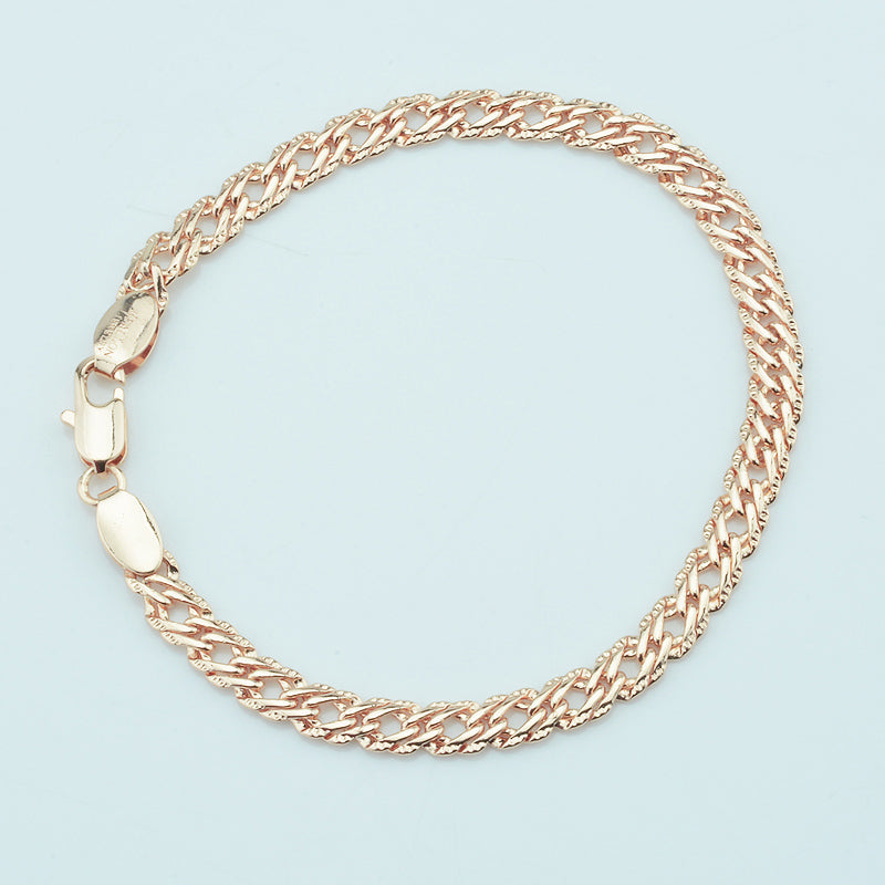 5mm Women Men 585 Gold Color Bracelets  Cut Hammered Chains Jewelry - Style Lavish