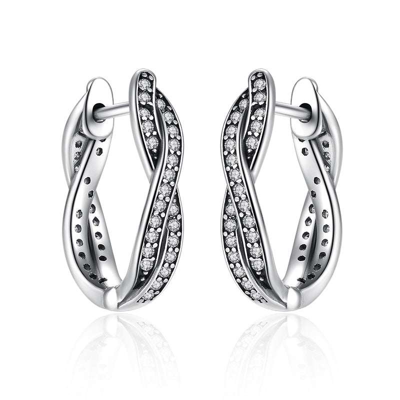 e0a2af530 ... Authentic 925 Sterling Silver Twist Of Fate Stud Earrings, Clear CZ for  Women - Style ...