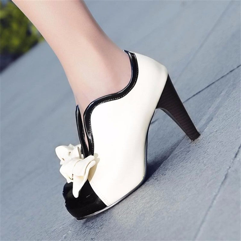 Women Fashion Boots Spring Autumn Style Bow Ankle Boots Round Toe High High Heels Slip-On Women's Boots