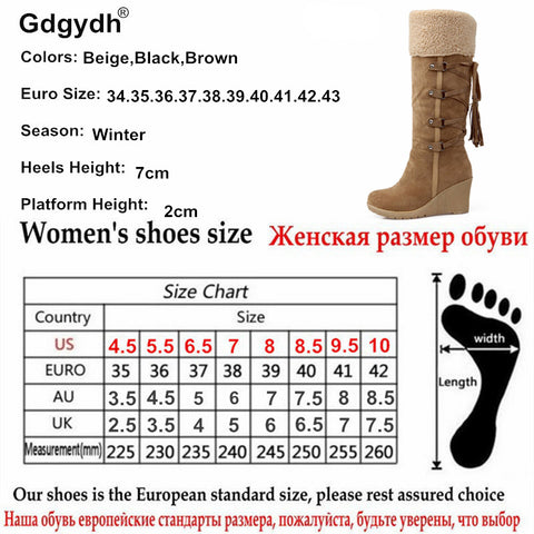 Fashion Scrub Plush  Warm Winter Snow Boots Women Wedges Knee-high Slip-resistant Boots